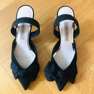 Zara kitten heels with oversized bow.